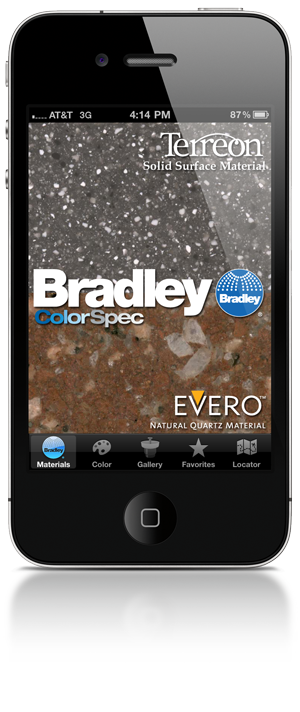 iPhone showing the homescreen of the Bradley ColorSpec App