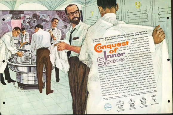 Illustration of Scientists washing their hands at a Bradley washfountain